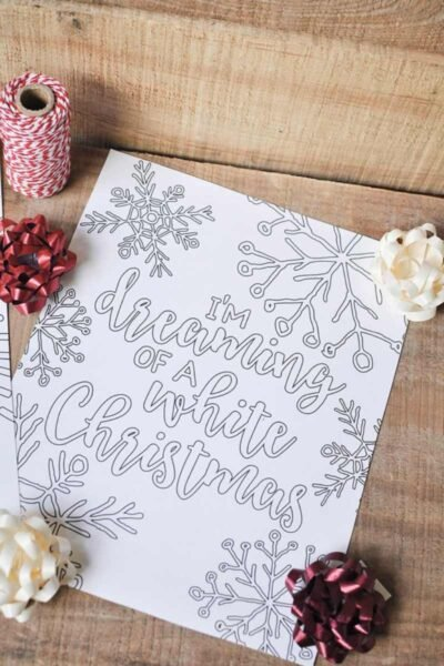 white Christmas coloring page