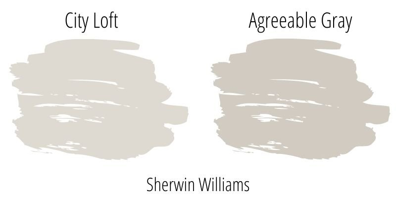 paint swatch comparison of Sherwin Williams City Loft with Agreeable Gray