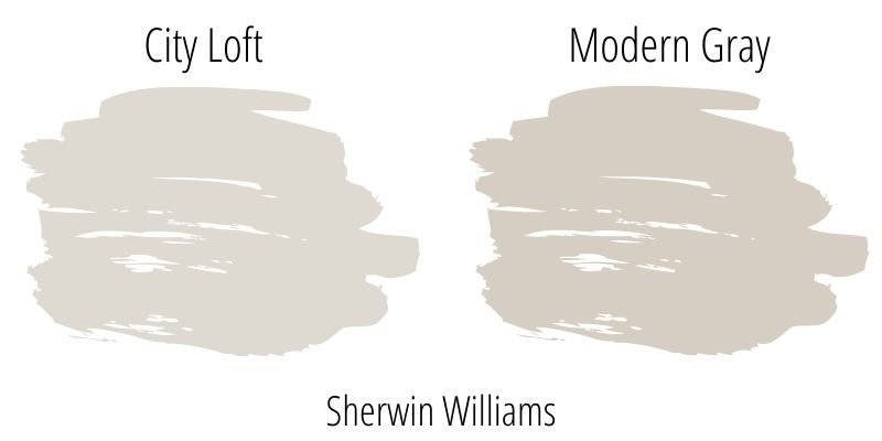 paint swatch comparison of Sherwin Williams City Loft with Modern Gray