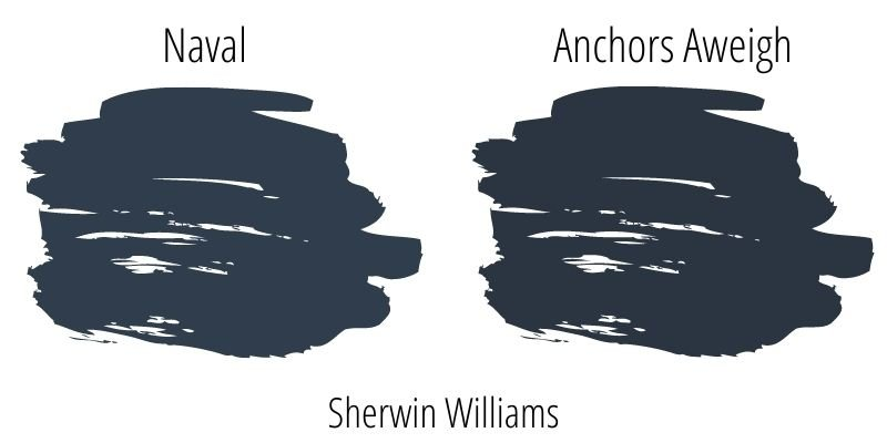 paint swatch comparison of Sherwin Williams Naval versus Anchors Aweigh
