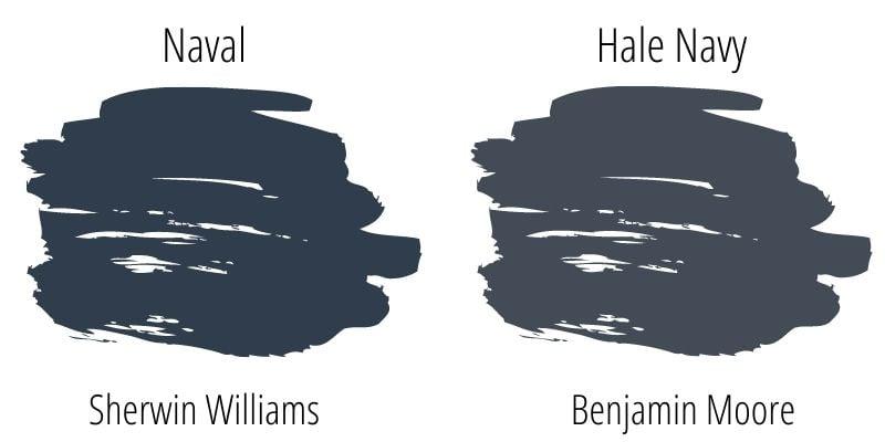paint swatch comparison of Sherwin Williams Naval versus Benjamin Moore Hale Navy