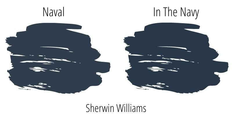 paint swatch comparison of Sherwin Williams Naval versus In The Navy