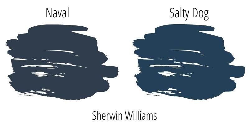 paint swatch comparison of Sherwin Williams Naval versus Salty Dog