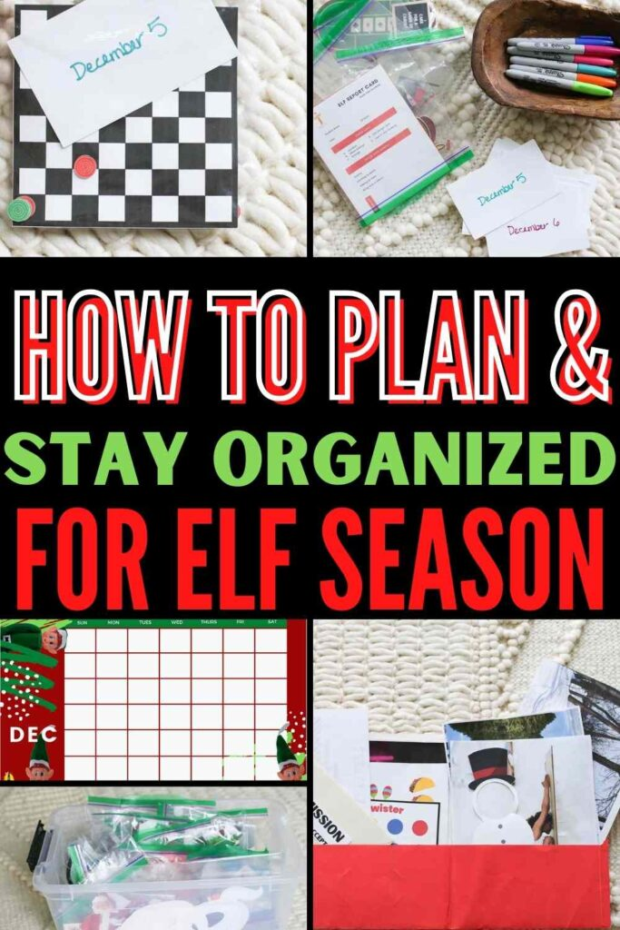 """""""How to plan and stay organized for elf season"""" this Christmas showing five numbered tips for having a stress-free December with your family Christmas elf"""