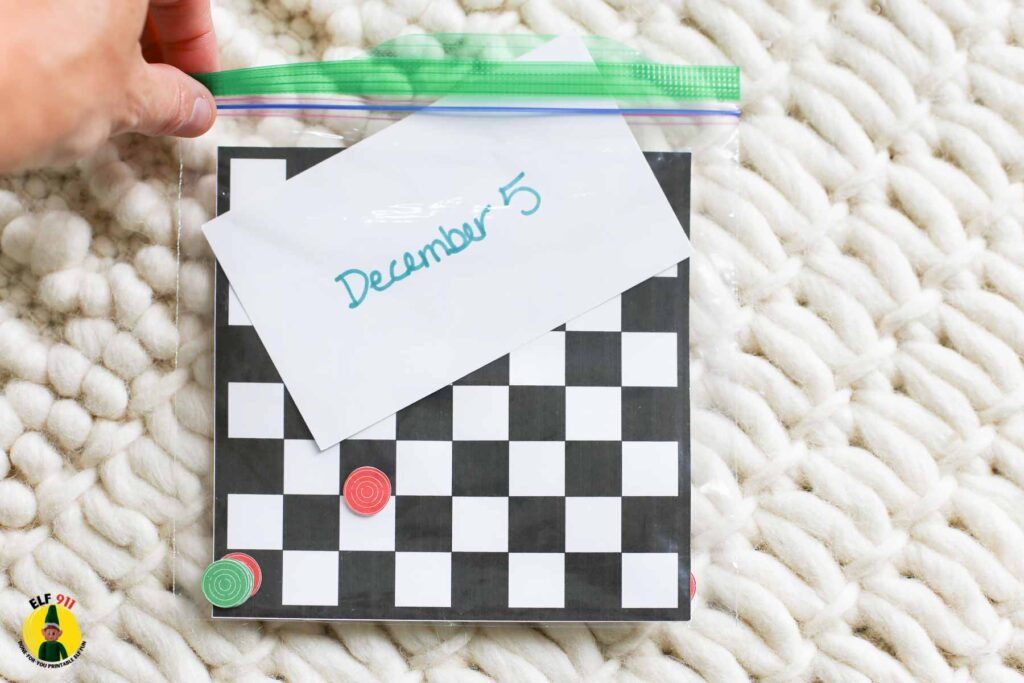 elf planning and organizing idea: print all elf printables out ahead of time, cut as required and then store all the gear and supplies in a ziploc bag labeled with the day of the month they will be used