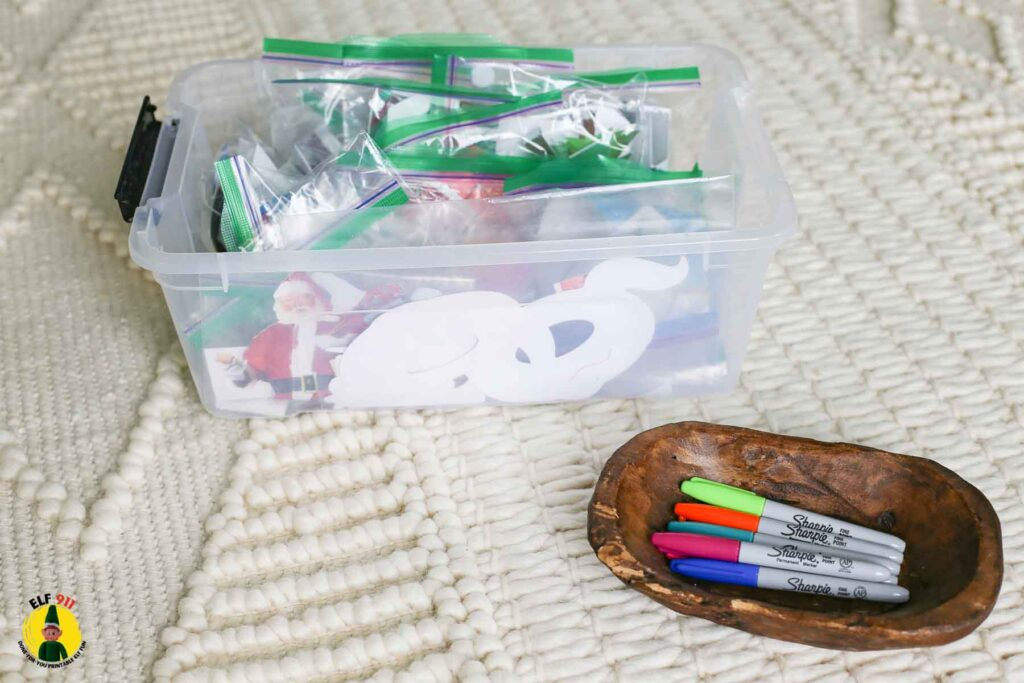elf planning and organizing idea: once each daily elf antic is planned, place the gear and supplies for each day inside its own ziploc bag and mark with the date it will be used. I store all of the supplies inside one plastic bin with lid