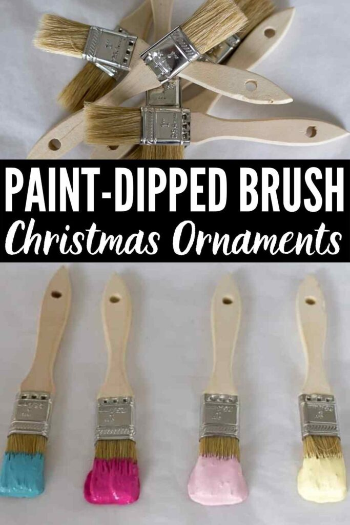 """""""Paint-Dipped Brush Christmas Ornaments"""" with wood paintbrushes shown dipped in different paint colors to create simple DIY Christmas ornaments"""
